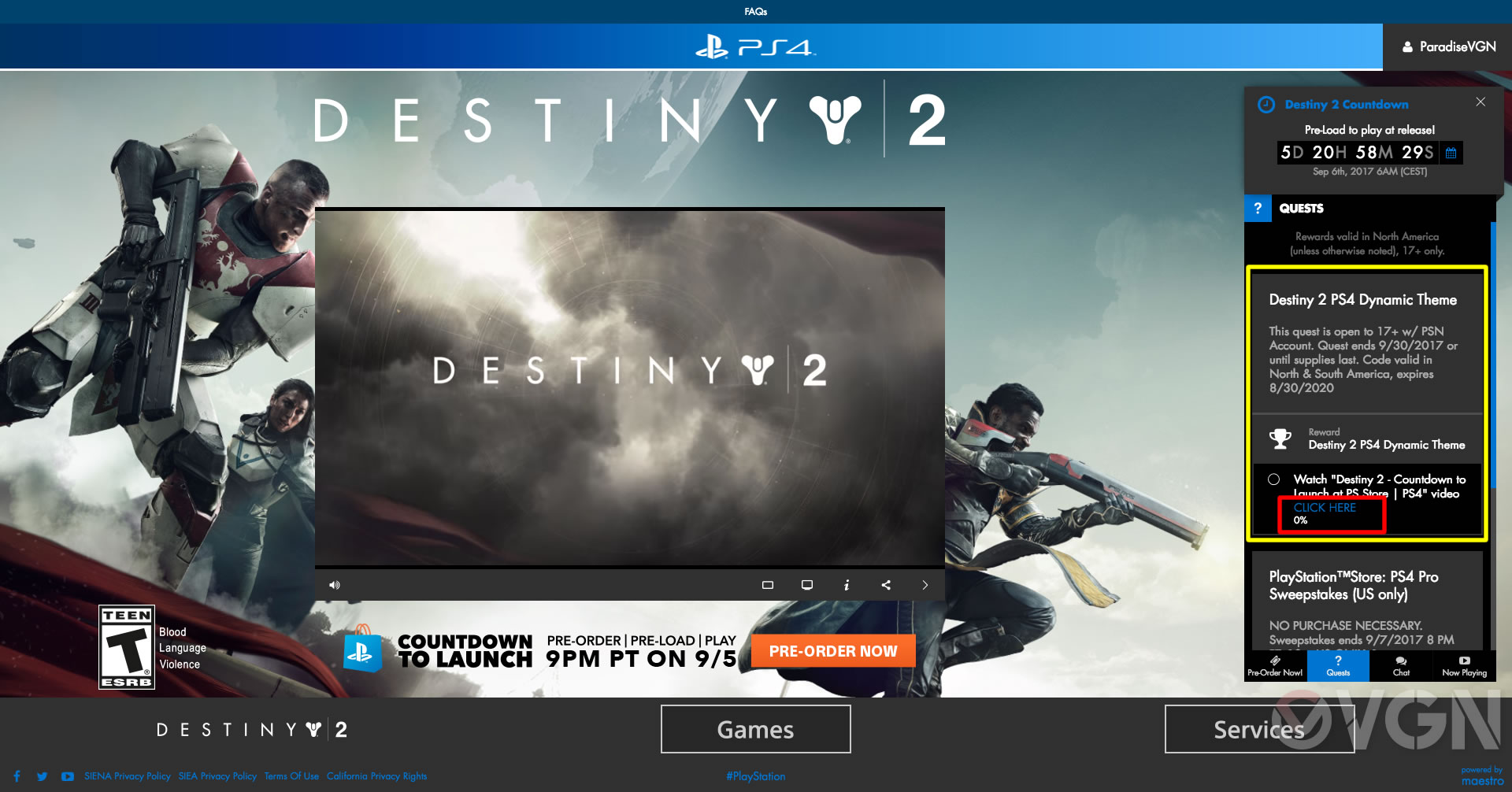 Destiny 2: Guida al download del tema Countdown to Launch