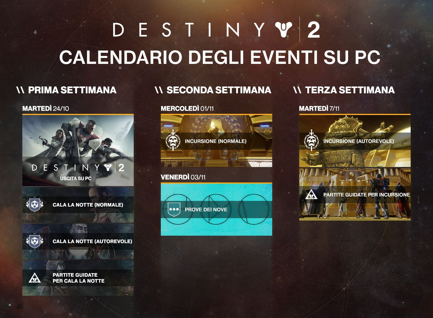Destiny 2: niente Prove dei Nove fino al 3 novembre