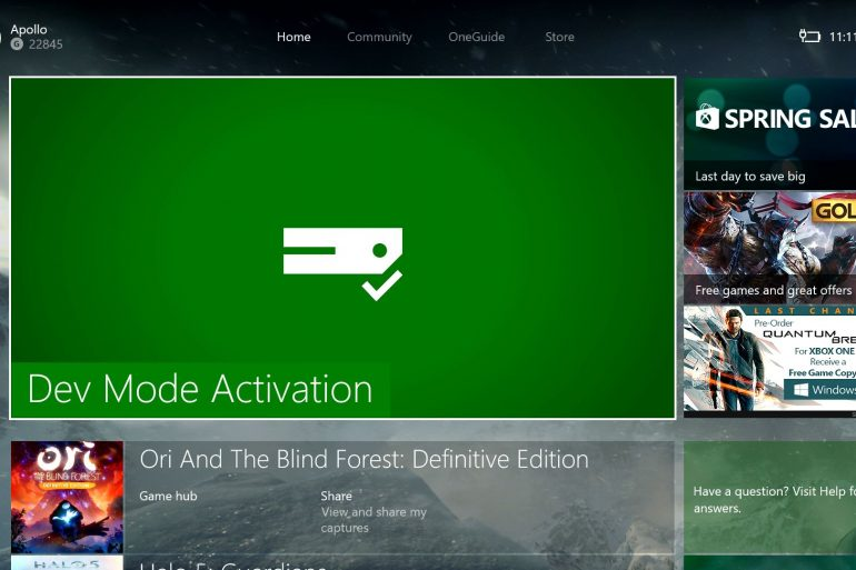 Xbox One Dev Mode