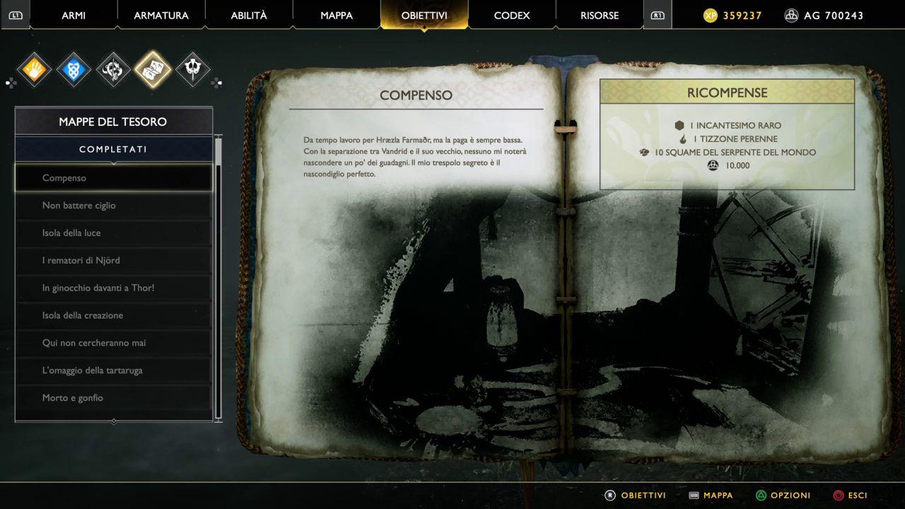 God of War - Mappe del Tesoro - Compenso
