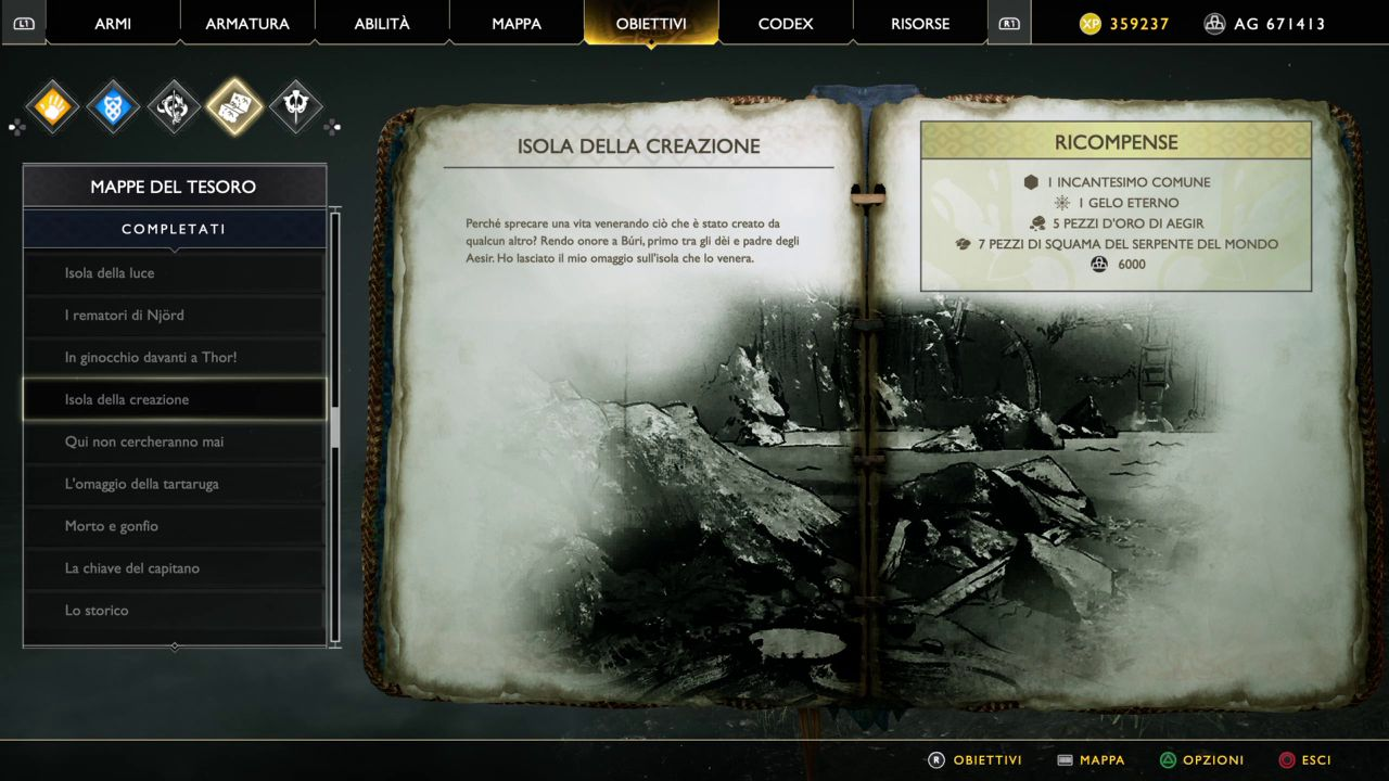 God of War - Mappe del Tesoro - Isola della Creazione