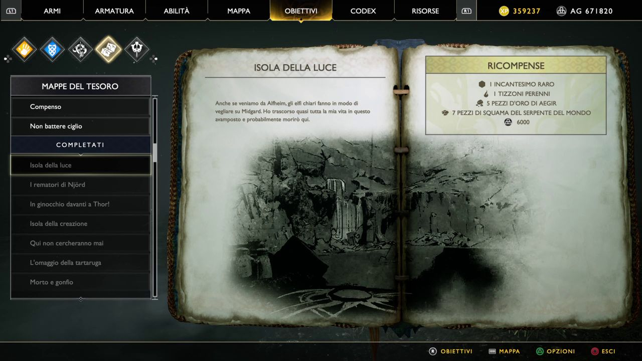 God of War - Mappe del Tesoro - Isola della Luce