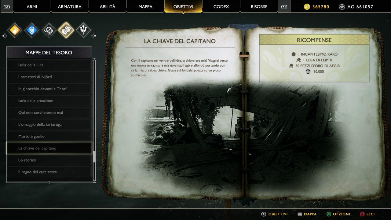 God of War - Mappe del Tesoro - La Chiave del Capitano