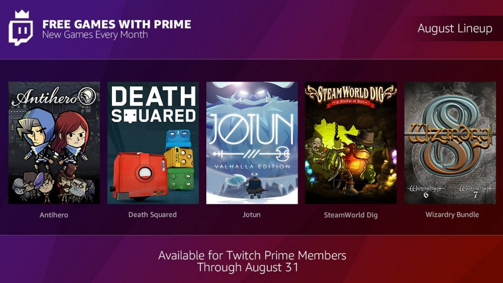 Twitch Prime - Line-up Agosto